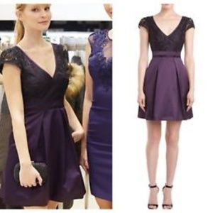 Purple and Black Top Laced Dress by Karen Millen